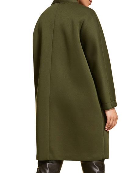 Marina Rinaldi Plus Size Neoprene Knee-Length Coat with Pop Buttons