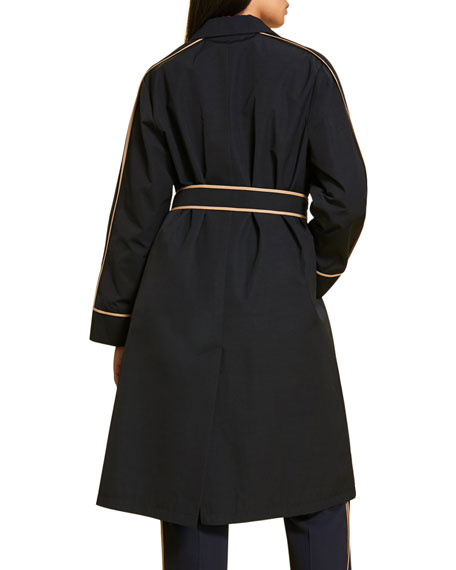 Marina Rinaldi Plus Size Microfiber Belted Raincoat with Contrast Piping
