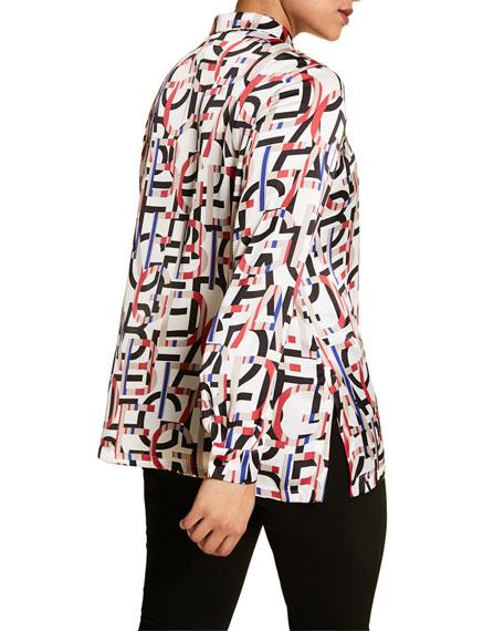 Marina Rinaldi Plus Size Letter Print Satin Button-Down Shirt