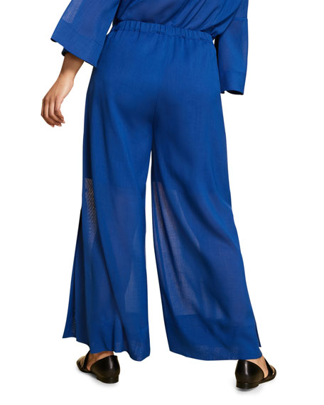 Marina Rinaldi Plus Size Wool Gauze Wide-Leg Pants