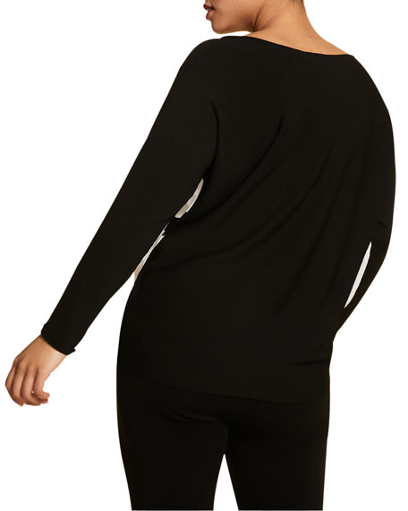 Marina Rinaldi Plus Size Colorblock Oversized V-Neck Sweater