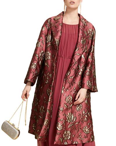 Plus Size Brocade Opera Coat with Shawl Collar