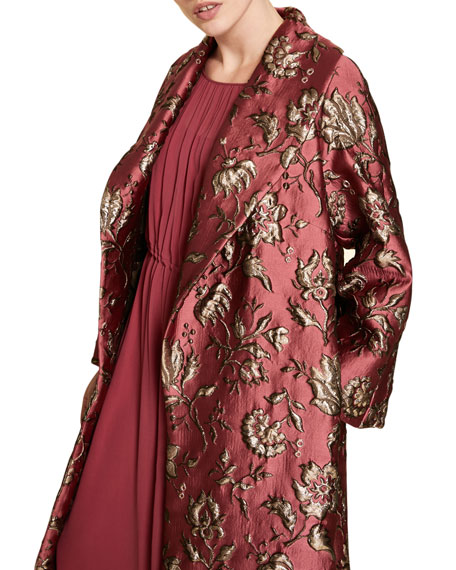 Marina Rinaldi Plus Size Brocade Opera Coat with Shawl Collar