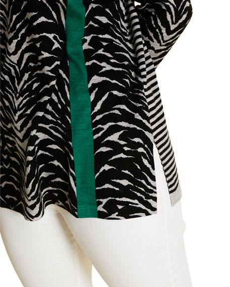 Marina Rinaldi Plus Size Zebra-Print V-Neck Wool Sweater