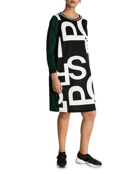 Plus Size Graphic-Print Scuba Jersey Dress