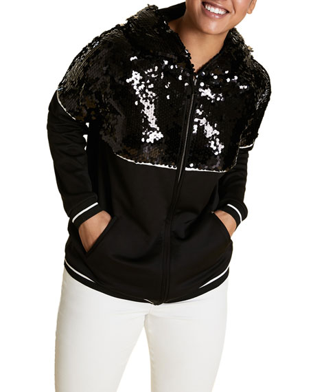 Marina Rinaldi Plus Size Scuba Jersey Zip-Front Hoodie Jacket with Sequins