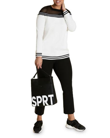 Marina Rinaldi Plus Size Striped Scuba Jersey Sweatshirt w/ Mesh Top Detail