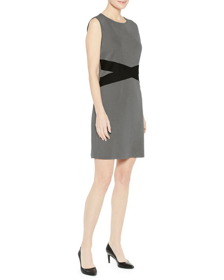 Misook Contrast Twist-Waist Sheath Dress