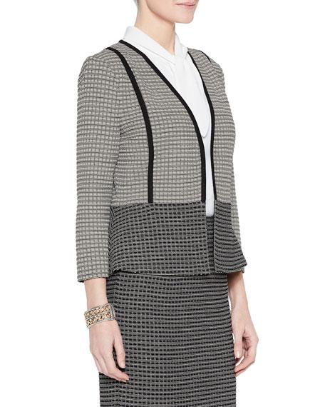 Misook Tonal Grid Pattern Peplum Jacket