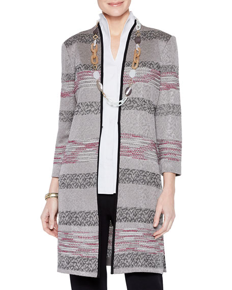 Misook Plus Size Intarsia Knit Pattern Duster Jacket