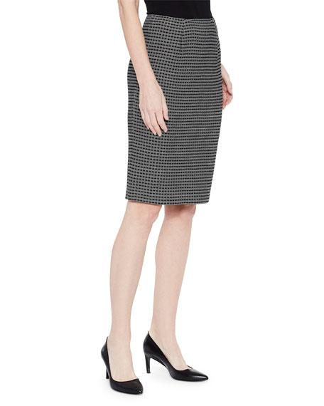 Misook Tonal Grid Pattern Skirt