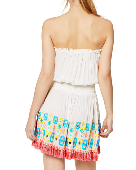 Ramy Brook Isobel Embroidered Strapless Short Dress