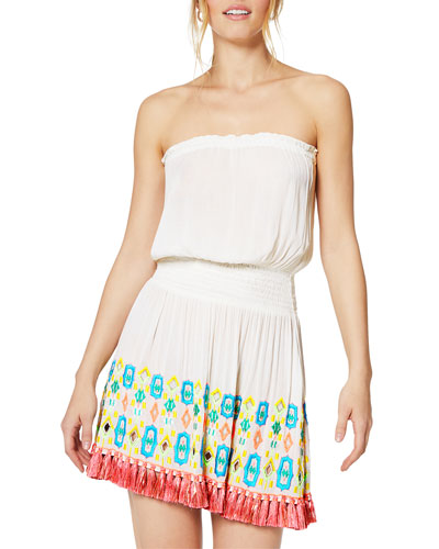 Isobel Embroidered Strapless Short Dress