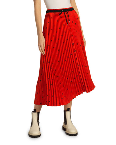 Pleated Drawstring Midi Skirt