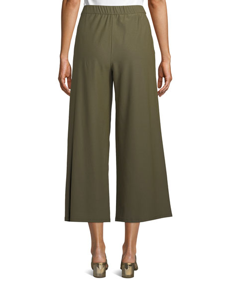 Image 2 of 4: High-Waist Wide-Leg Cropped Stretch Crepe Pants
