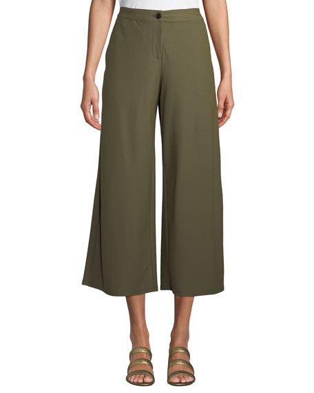Image 1 of 4: High-Waist Wide-Leg Cropped Stretch Crepe Pants