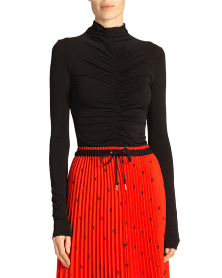 Proenza Schouler White Label Open-Back Fitted Ruched Turtleneck Top