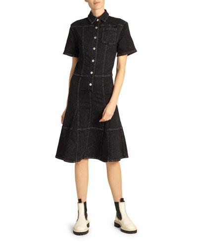 Button-Front Denim Flounce Dress