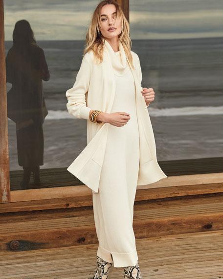 Joan Vass Cowl-Neck Sleeveless Sweater Dress