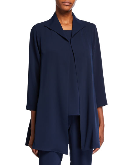 Caroline Rose Plus Size Crepe Suzette Open-Front City Jacket