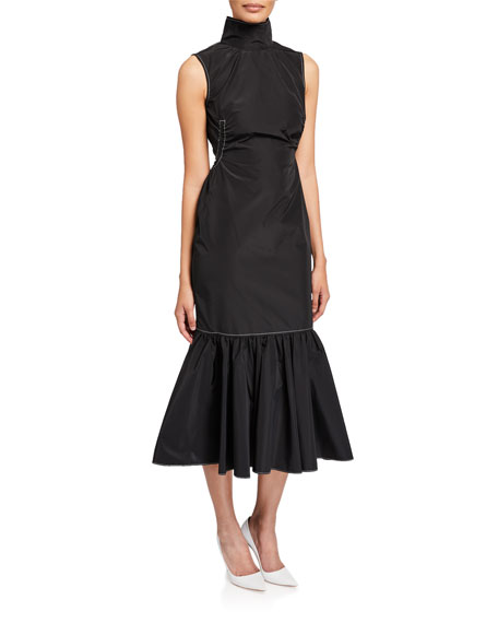 CAMILLA AND MARC Cella Sleeveless High-Neck Midi Flounce-Hem Dress