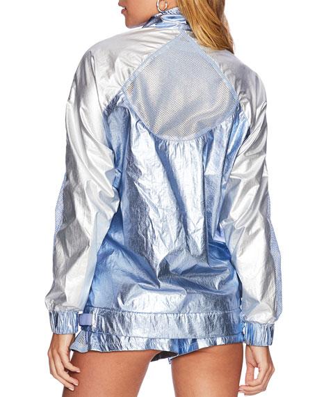Beach Riot Metallic Zip-Front Active Jacket