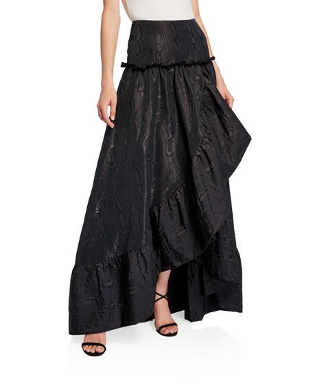 flor et.al Jeanne Moire High-Low Ruffle Ball Skirt