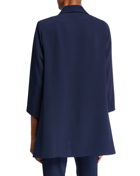 Caroline Rose Crepe Suzette Open-Front City Jacket