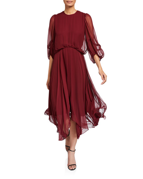 CAMILLA AND MARC Dylan Blouson-Sleeve Georgette Dress