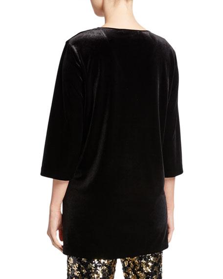 Joan Vass Petite V-Neck 3/4-Sleeve Velvet Easy Tunic