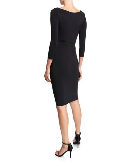 Chiara Boni La Petite Robe Long-Sleeve Hook-&-Eye Dress