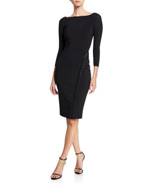 2628cebe44974f Chiara Boni La Petite Robe Long-Sleeve Hook-&-Eye Dress