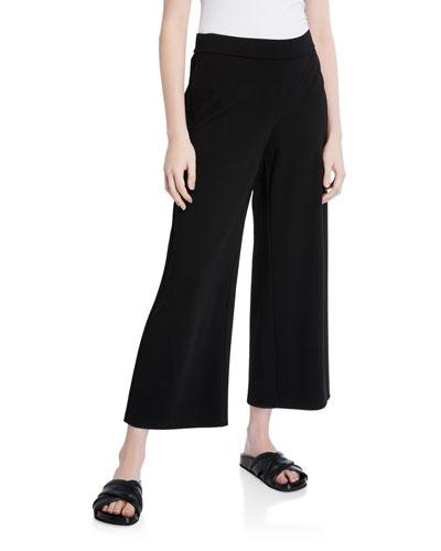 Wide-Leg Ponte Ankle Pants