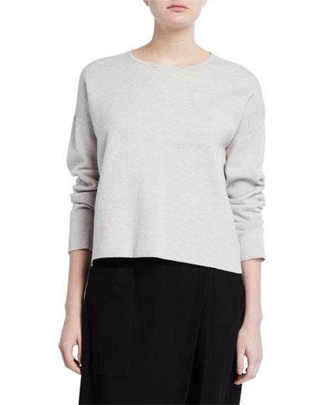 Eileen Fisher Plus Size Reversible Crewneck Organic Cotton/Silk Sweater