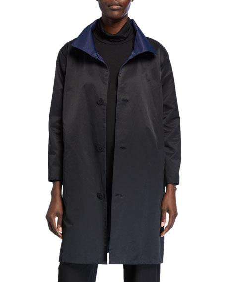 Eileen Fisher Petite Reversible Button-Front Coat with Stand Collar