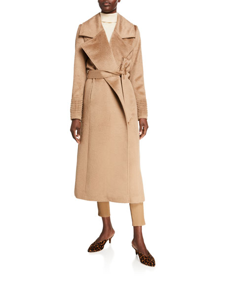 Sentaler Oversized-Collar Wrap Suri Alpaca Coat