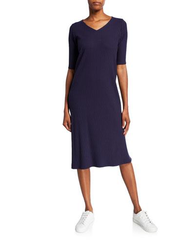 V-Neck Elbow-Sleeve Ribbed Midi Dress