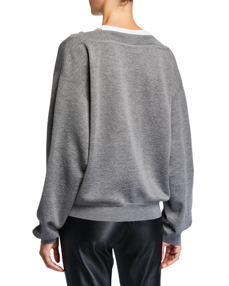 alexanderwang.t Bi-Layer V-Neck Wool Sweater
