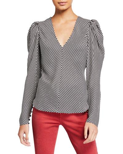 Striped Silk Shirred V-Neck Top