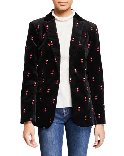 Heart-Embroidered Velvet Classic Blazer