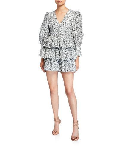 Paris Calico Floral Tiered Short Dress
