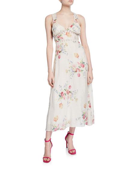 LoveShackFancy Sabina Sleeveless Floral Lace-Inset Dress