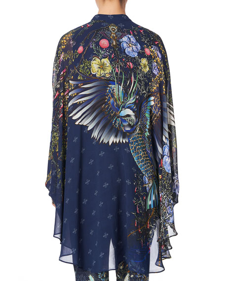 Camilla Draped Button-Front Long-Sleeve Silk Blouse