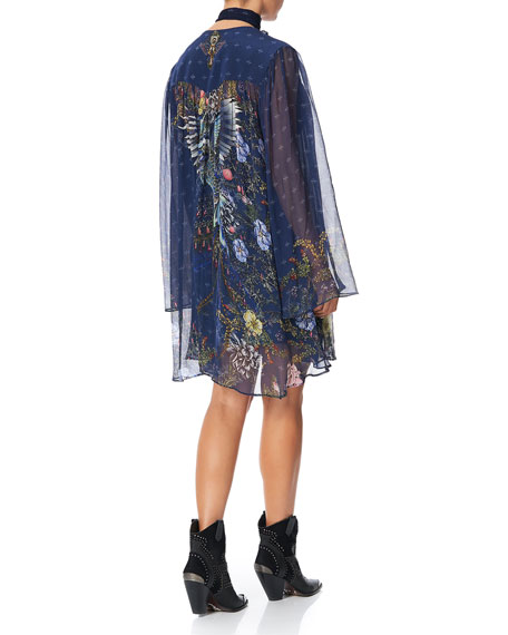 Camilla Printed Silk Short Dress with Yoke