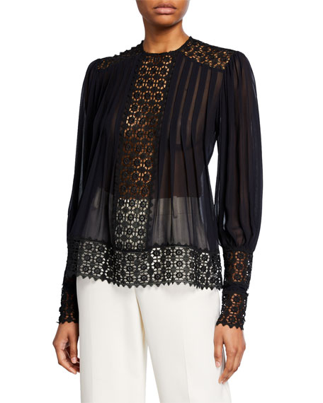 Zimmermann Resistance Smocked Blouse with Lace
