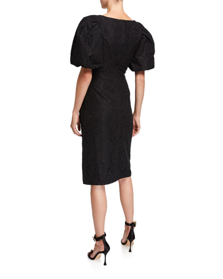 ZAC Zac Posen Terry Lace Puff-Sleeve Cocktail Dress