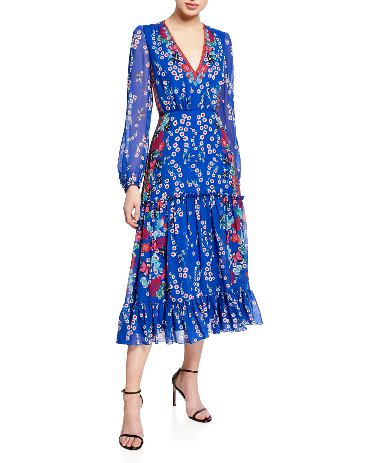 Devon Floral Print Long Sleeve Tiered Dress by Saloni