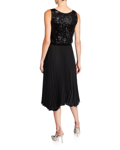 Loyd/Ford Sequined Tank Dress with Pleated Skirt