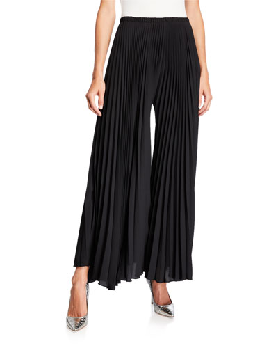 Wide-Leg Pleated Pants
