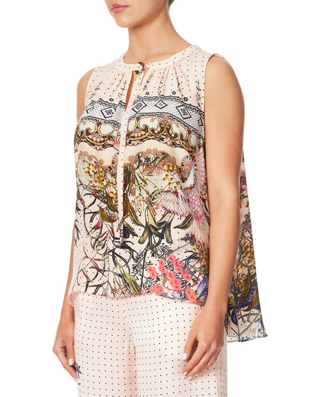 Camilla D-Ring Sleeveless Silk Top